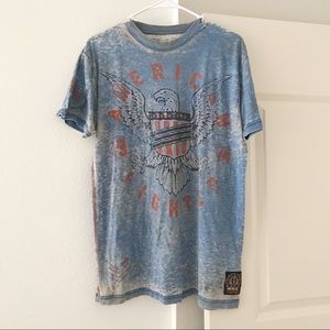 AMERICAN FIGHTER Blue Eagle Distressed T-Shirt L